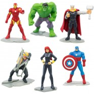 Marvel AVENGERS Set 6 Figures 5cm Hulk Iron Man Thor Captain America Black Widow Hawkeye ORIGINAL