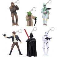 STAR WARS Set 6 Figures 5cm KEYRING Yoda Darth Vader Han Solo ORIGINAL