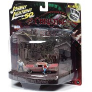 CHRISTINE Model Car 8cm 1958 Plymouth Fury Scale 1/64 With 2 Figures and Diorama Stephen King Original  Johnny Lightnining