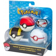 POKEMON Box Set 3 Pieces POKEBALL Poke Ball THROW AND CATCH Soft Foam Originali TOMY