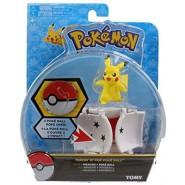 Pokemon PIKACHU Attack Figure 4cm + POKE BALL POP-UP Original TOMY PokeBall