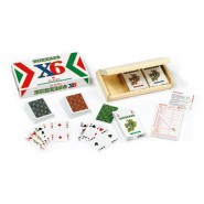 BURRACO Set DELUXE X6 3 decks 55 Cards WOODEN BOX Rules Scorekeeper DAL NEGRO 90079