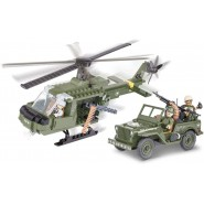 Playset Jeep Willys MB and Helicoter Constructions COBI 24254 Building Blocks 250 pieces