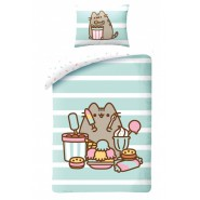BED SET Duvet Cover PUSHEEN with ICE CREAMS and Sweets Cat Emoticon 140x200 COTTON