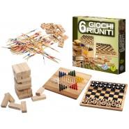 6 GIOCHI RIUNITI in LEGNO Wooden Board Game ITALIAN LANGUAGE Original EDITRICE GIOCHI