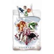 HOGWARTS Crest 4 Houses Bed Set HARRY POTTER 2 Pieces DUVET COVER 140x200cm and Pillow Case 70x90cm Cotton Official