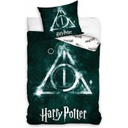 HOGWARTS Deathly Hollows Logo Bed Set HARRY POTTER 2 Pieces DUVET COVER 140x200cm and Pillow Case 70x90cm Cotton Official