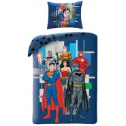 BED SET Original JUSTICE LEAGUE Superman Flash Batman Aquaman Cyborg Wonder Woman Duvet Cover 140x200cm + 70x90cm 100% Cotton