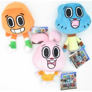 COMPLETE SET 3 PLUSH 20cm GUMBALL Amazing World Characters Darwin + Anais + Gumball Cartoon Network Play By Play