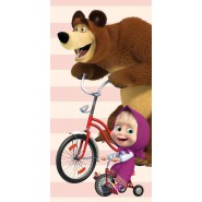 Beach Towel MASHA AND THE BEAR CYCLING 140x70cm ORIGINAL Cotton