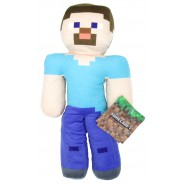 Plush 30cm STEVE Character Blue T-Shirt MINECRAFT Original Official MOJANG Bandai Namco