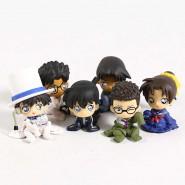 DETECTIVE CONAN Complete Set 6 FIGURES Vol. 4 Characters Chijimasetai Shrinked Shinichi Kudo Phantom Ran Gashapon Bandai