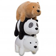 COMPLETE SET 3 PLUSH 28cm We Bare Bears Stacked Together Characters Grizzly + Panda + White Bear Cartoon Network