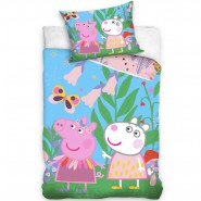 BED SET Cotton Duvet Cover PEPPA PIG With White Friend 140x200cm Pillow Case 60x63cm ORIGINAL