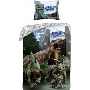 BED SET Duvet Cover  JURASSIC PARK Orange Entry Door Dinosaur T-REX Official 140x200 + 70x90cm COTTON