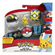 POKEMON Clip 'n' Go Official BELT With Figure PIKACHU ENTHUSIASTIC and 2 PokeBall ORIGINAL Official