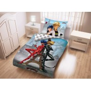 Bed Set MIRACULOUS Couple in Paris Tour Eiffel DUVET COVER 140x200 Pillow cover 70x90 Cotton ORIGINAL Ladybug
