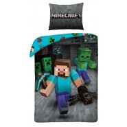 MINECRAFT Single Bed Set STEVE WITH AX Original DUVET COVER 140x200cm Cotton OFFICIAL