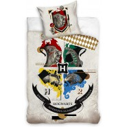 HOGWARTS Crest 4 Houses Animals Symbol Bed Set HARRY POTTER 2 Pieces DUVET COVER 140x200cm and Pillow Case 70x90cm Cotton