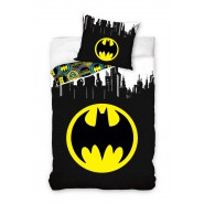 BATMAN Bed Set ROUND LOGO Symbol 2 Pieces DUVET COVER 140x200cm and pillow case Cotton ORIGINAL Official