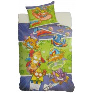 BED SET Original SUPERZINGS Violet Green Rocket Spaceship Duvet Cover 140x200cm + 70x90cm 100% Cotton