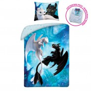 Single Bed Set BLACK and WHITE FURY Toothless DUVET COVER 140x200cm COTTON With SACK - Dragons DRAGON TRAINER