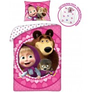 Bed Set MASHA AND THE BEAR With Light Pink Bag With Hearts DUVET COVER 140x200 Pillow cover 70x90 Cotton ORIGINAL