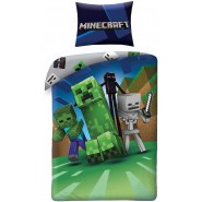 MINECRAFT Single Bed Set RUN Away From The CREEPER Original DUVET COVER 140x200cm Cotton OFFICIAL