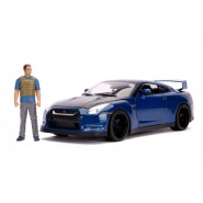 FAST FURIOUS Car Model BRIAN NISSAN GT-R R35 Blu DieCast 1/18 WITH FIGURE Original JADA 31142