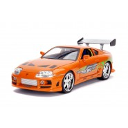 FAST FURIOUS Car Model BRIAN 's TOYOTA SUPRA Orange DieCast 1/18 WITH FIGURE Original JADA 31139