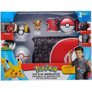 POKEMON Boxed Set BAG WITH BELT and 2 Pokeballs and EEVEE Figure ORIGINAL Clip Go