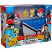 POKEMON Boxed Set BAG WITH BELT and 2 Pokeballs and PIKACHU Figure ORIGINAL Clip Go