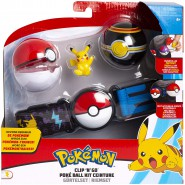 POKEMON Clip 'n' Go Official BELT With Figure PIKACHU SITTING WAVING and 2 PokeBall ORIGINAL Official
