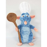 Plush RATATOUILLE Rémy 25cm Mouse Chef Hat And Spoon Peluche From The Movie Original OFFICIAL DISNEY
