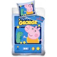 BED SET Cotton Duvet Cover JUMPING GEORGE Peppa Pig 140x200cm ORIGINAL
