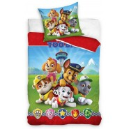 PAW PATROL 5 Pups Symbols BED SET Cotton Duvet Cover 135x200cm ORIGINAL