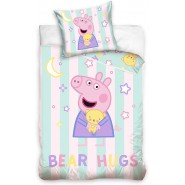 BABY BED SET Cotton Duvet Cover PEPPA PIG Tent And Moon Sleep Tight 100x135cm ORIGINAL