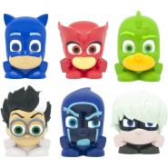 PJ MASKS Complete SET 6 Mini FIGURES Mash'ems Super Squishy Owlette Catboy Gekko 3cm ORIGINAL