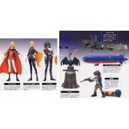 RARE Set 7 Figure CAPITAN HARLOCK and QUEEN EMERALDAS with Model ARCADIA Original KONAMI Giappone Trading Figures