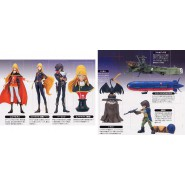 RARE Set 8 Figures WITH SECRET - CAPITAN HARLOCK and QUEEN EMERALDAS with Model ARCADIA Original KONAMI Giappone