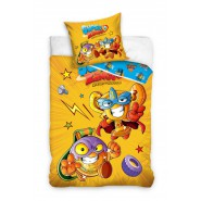 BED SET Original SUPERZINGS Yellow Medal and Trophy 2 Characters Duvet Cover 140x200cm + 70x90cm 100% Cotton