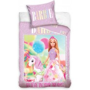Bed Set BARBIE Believe in Your Dreams With Unicorn DUVET COVER 140x200cm + Pillow Cover 70x90cm Cotton Carbotex