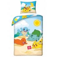 Bed Set POKEMON PIKACHU Beach With Friends Pokeball DUVET COVER 140x200 Pillow cover 70x90 Double Face Cotton ORIGINAL Official