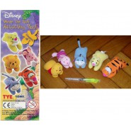 WINNIE POOH Set 5 Mini Peluche Soft Toys ATTACHING PLUSH Gashapon TOMY Pimpi Tiger Eeyore