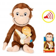 PLUSH 25cm CURIOUS GEORGE Monkey With BANANA and SOUNDS In Nice Box ORIGINAL Official