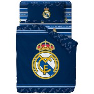 REAL MADRID Bed Set LOGO 3 Pieces FLAT SHEET 150x280cm Pillow Cover 52x82cm Fitted Sheet 90x200cm Cotton ORIGINAL Official