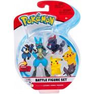 POKEMON Box 3 FIGURES Lucario + Zorua + Pikachu Original WCT Battle Figure Set