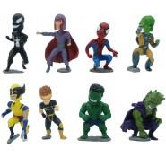 Set 8 Figures MARVEL BOBBLE HEADS Serie PART 1 Hulk Wolverine Magneto Venom Goblin TOMY