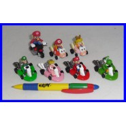 Rare SET 7 Figures with Vehicles SUPER MARIO KART Pull Back WII COLLECTION Gashapon Tomy