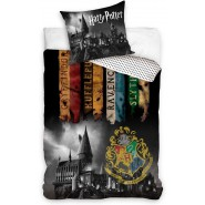 BANNERS HOUSE School CASTLE OF HOGWARTS Bed Set HARRY POTTER 2 Pieces DUVET COVER 140x200cm and Pillow Case 60x70cm Cotton